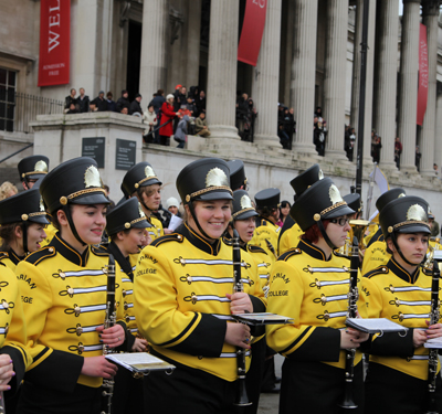 Our Marching Band on the streets of London, England for the London New Year's Day Parade (2013).