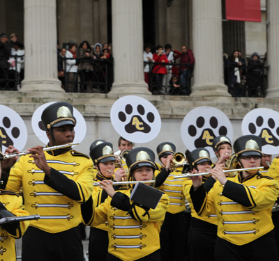Marching band on the streets of London, England for the London New Years Day Parade (2013)