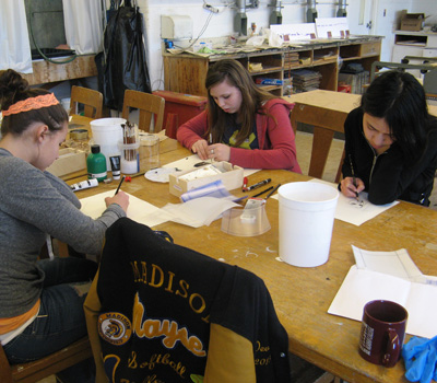 High schoolers working on the 2012 Bridge program.