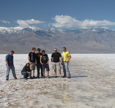 The US Field Experience class spent several days hiking and studying the geology in Death Valley, CA. This photo was taken in Badwater Basin, 282 feet below sea level! (Spring 2010).