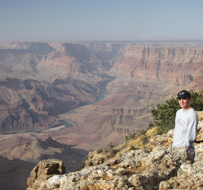 Student Brent Swee takes a break from fiels work to enjoy the view at Grand Canyon National Park, Arizona (Spring 2012).
