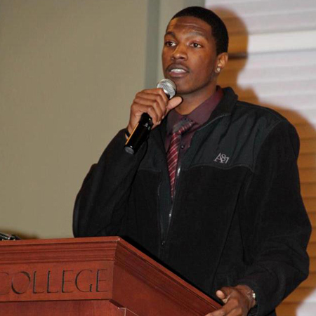 De'Javone Cribbs accepting the MLK, Jr. Student Service Award (2012)