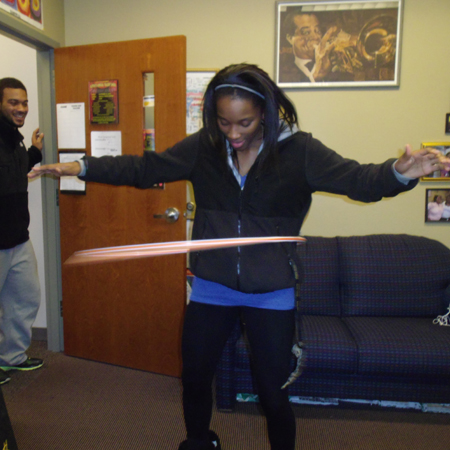 LaQuana Dockery does hula hoop