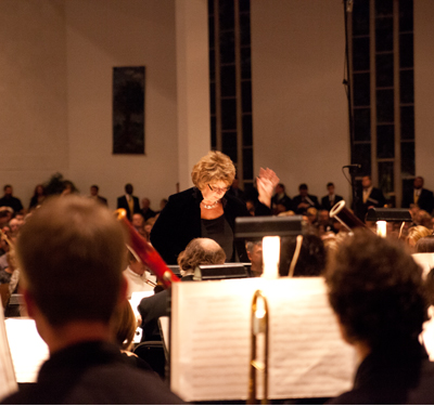 Conductor Valerie Palmieri at the 2012 Lessons and Carols concert.