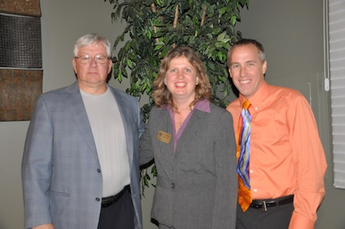 picture L-R: Mike McAran, Superintendent of Tecumseh Schools; Dr. Andrea R. Milner, Institute for Education Director at Adrian College; Bob Gustas, 2010 Hoosier Educator of the Year recipient
