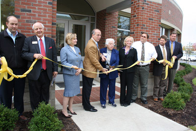 Ribbon cutting ceremony at the newly renovated Spencer Hall.