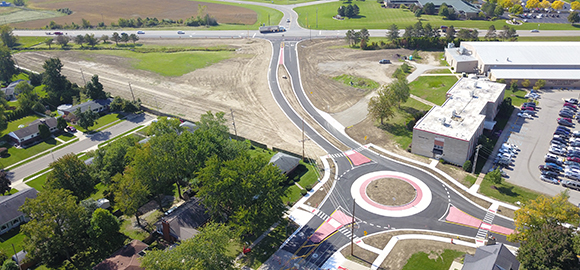 Adrian College Boulevard, roundabout now open